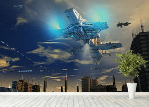 Spaceship UFO and City Wall Mural Wallpaper - Canvas Art Rocks - 4