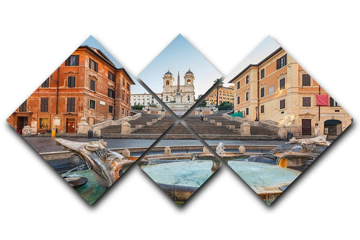 Spanish Steps at morning 4 Square Multi Panel Canvas