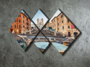 Spanish Steps at morning 4 Square Multi Panel Canvas  - Canvas Art Rocks - 2