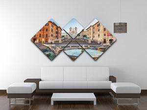 Spanish Steps at morning 4 Square Multi Panel Canvas  - Canvas Art Rocks - 3