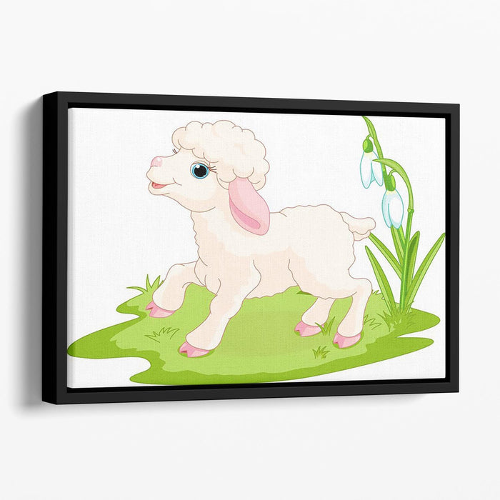 Spring background with Easter lamb and flowers Floating Framed Canvas