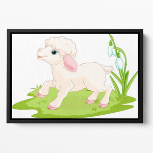 Spring background with Easter lamb and flowers Floating Framed Canvas - Canvas Art Rocks - 2