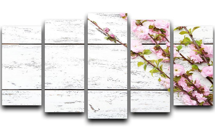 Spring flowering branch on white wooden 5 Split Panel Canvas