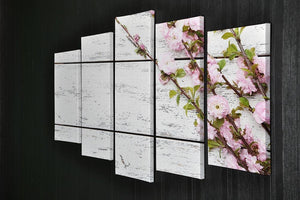 Spring flowering branch on white wooden 5 Split Panel Canvas  - Canvas Art Rocks - 2