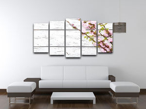Spring flowering branch on white wooden 5 Split Panel Canvas  - Canvas Art Rocks - 3