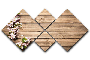 Spring flowering branch on wooden background 4 Square Multi Panel Canvas  - Canvas Art Rocks - 1
