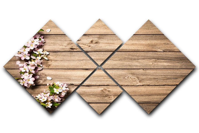 Spring flowering branch on wooden background 4 Square Multi Panel Canvas