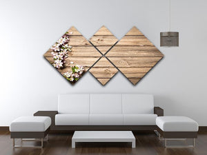 Spring flowering branch on wooden background 4 Square Multi Panel Canvas  - Canvas Art Rocks - 3
