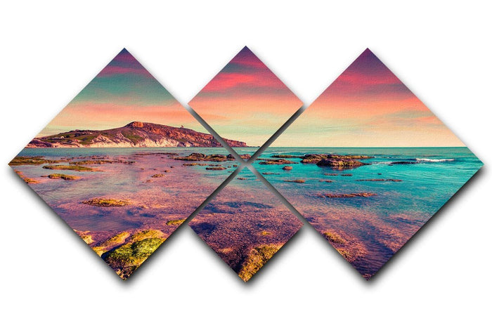 Spring sunset from the Giallonardo 4 Square Multi Panel Canvas
