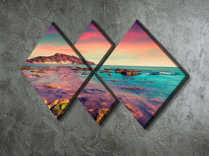 Spring sunset from the Giallonardo 4 Square Multi Panel Canvas  - Canvas Art Rocks - 2
