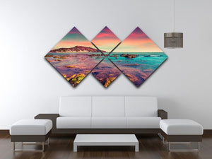 Spring sunset from the Giallonardo 4 Square Multi Panel Canvas  - Canvas Art Rocks - 3