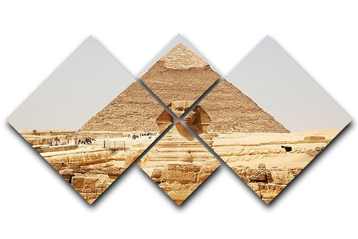 Spynx face on the Giza pyramid 4 Square Multi Panel Canvas