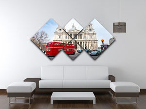 St Paul Cathedral 4 Square Multi Panel Canvas  - Canvas Art Rocks - 3