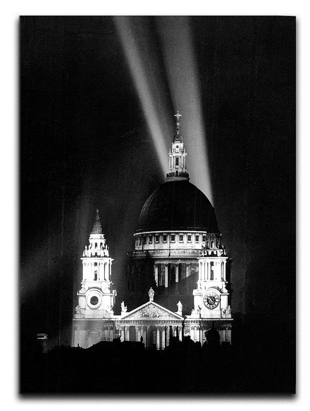 St Pauls floodlight on VE Day Canvas Print or Poster