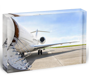 Stairs with Jet Engine Acrylic Block - Canvas Art Rocks - 1