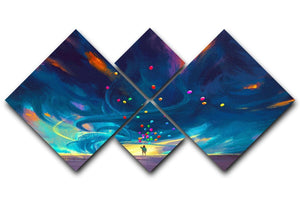 Standing in front of fantasy storm 4 Square Multi Panel Canvas  - Canvas Art Rocks - 1