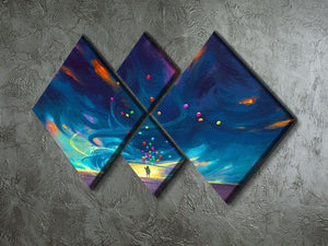 Standing in front of fantasy storm 4 Square Multi Panel Canvas  - Canvas Art Rocks - 2