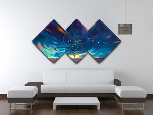 Standing in front of fantasy storm 4 Square Multi Panel Canvas  - Canvas Art Rocks - 3