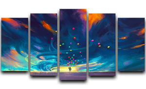 Standing in front of fantasy storm 5 Split Panel Canvas  - Canvas Art Rocks - 1