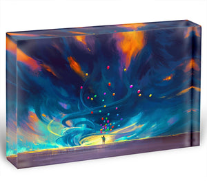 Standing in front of fantasy storm Acrylic Block - Canvas Art Rocks - 1