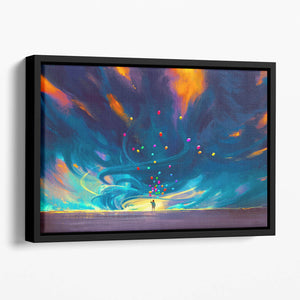 Standing in front of fantasy storm Floating Framed Canvas