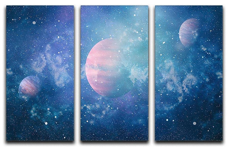 Stary Planet Space 3 Split Panel Canvas Print - Canvas Art Rocks - 1
