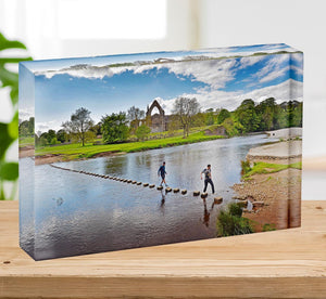 Stepping stones at Bolton Abbey Acrylic Block - Canvas Art Rocks - 2