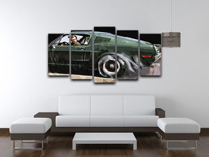 Steve McQueen Bullitt Reverse 5 Split Panel Canvas - Canvas Art Rocks - 3