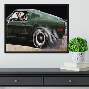 Steve McQueen Bullitt Reverse Framed Print - Canvas Art Rocks - 2