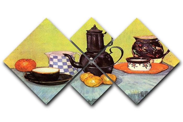 Still Life Blue Enamel Coffeepot Earthenware and Fruit by Van Gogh 4 Square Multi Panel Canvas