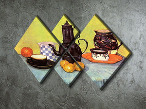 Still Life Blue Enamel Coffeepot Earthenware and Fruit by Van Gogh 4 Square Multi Panel Canvas - Canvas Art Rocks - 2