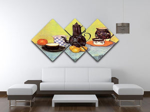 Still Life Blue Enamel Coffeepot Earthenware and Fruit by Van Gogh 4 Square Multi Panel Canvas - Canvas Art Rocks - 3