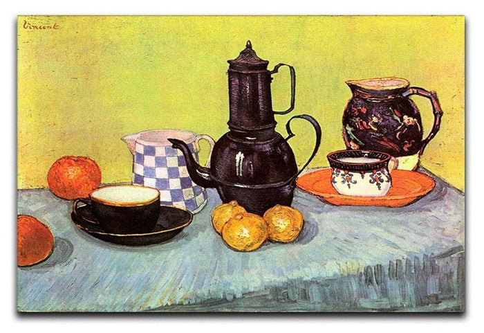 Still Life Blue Enamel Coffeepot Earthenware and Fruit by Van Gogh Canvas Print or Poster