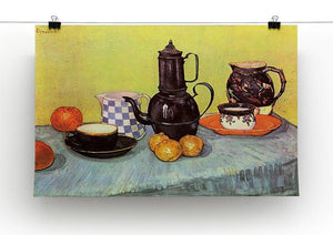Still Life Blue Enamel Coffeepot Earthenware and Fruit by Van Gogh Canvas Print & Poster - Canvas Art Rocks - 2