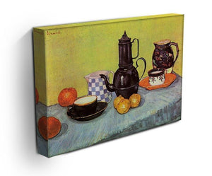 Still Life Blue Enamel Coffeepot Earthenware and Fruit by Van Gogh Canvas Print & Poster - Canvas Art Rocks - 3