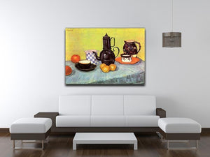 Still Life Blue Enamel Coffeepot Earthenware and Fruit by Van Gogh Canvas Print & Poster - Canvas Art Rocks - 4