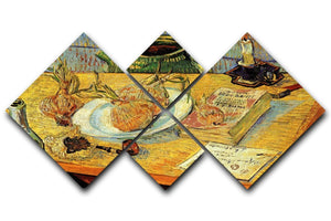 Still Life Drawing Board Pipe Onions and Sealing-Wax by Van Gogh 4 Square Multi Panel Canvas  - Canvas Art Rocks - 1