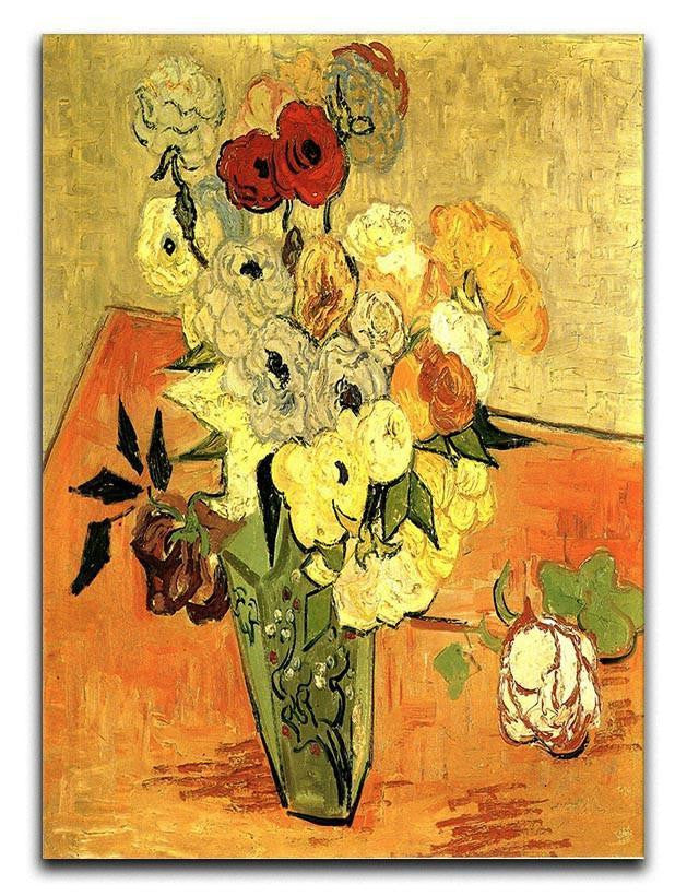 Still Life Japanese Vase with Roses and Anemones by Van Gogh Canvas Print or Poster