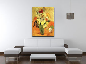 Still Life Japanese Vase with Roses and Anemones by Van Gogh Canvas Print & Poster - Canvas Art Rocks - 4