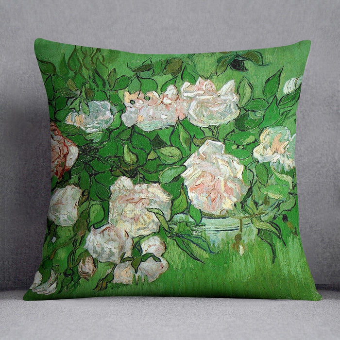 Still Life Pink Roses by Van Gogh Throw Pillow