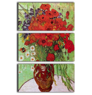Still Life Red Poppies and Daisies by Van Gogh 3 Split Panel Canvas Print - Canvas Art Rocks - 1