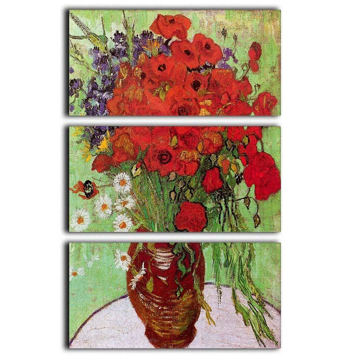 Still Life Red Poppies and Daisies by Van Gogh 3 Split Panel Canvas Print