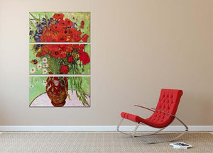 Still Life Red Poppies and Daisies by Van Gogh 3 Split Panel Canvas Print - Canvas Art Rocks - 2