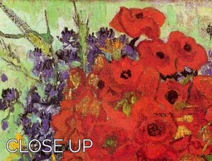 Still Life Red Poppies and Daisies by Van Gogh 3 Split Panel Canvas Print - Canvas Art Rocks - 3