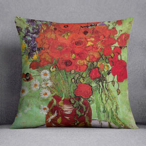 Still Life Red Poppies and Daisies by Van Gogh Throw Pillow
