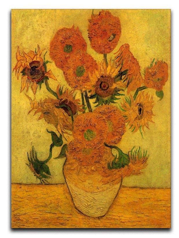 Still Life Vase With Fifteen Sunflowers 2 By Van Gogh Canvas Print