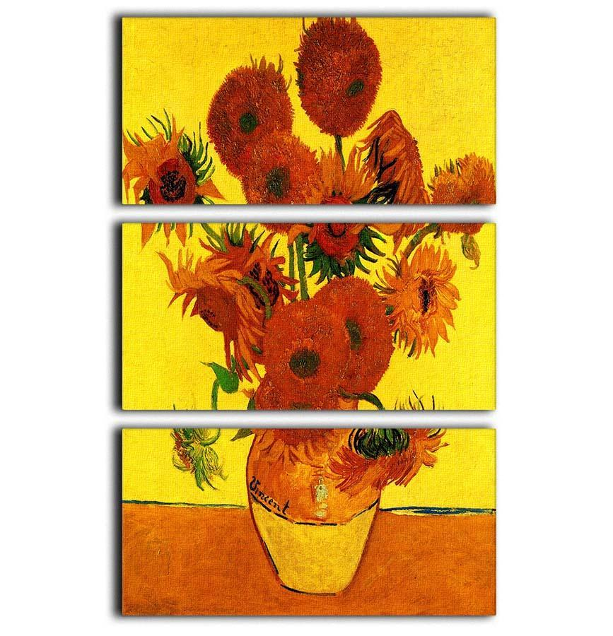 Still Life Vase With Fifteen Sunflowers 3 By Van Gogh 3 Split Panel