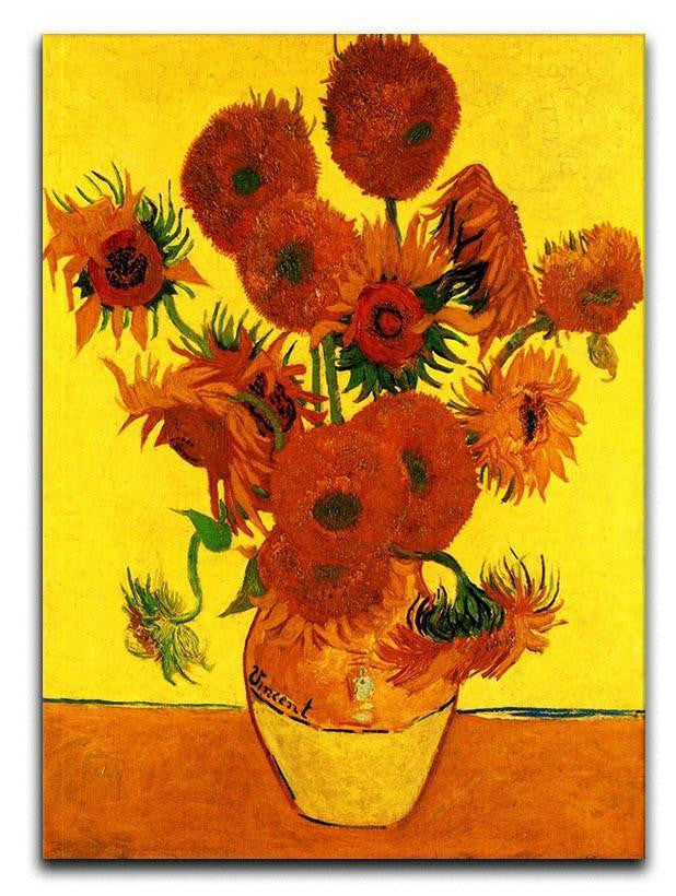 Still Life Vase with Fifteen Sunflowers 3 by Van Gogh Canvas Print or Poster