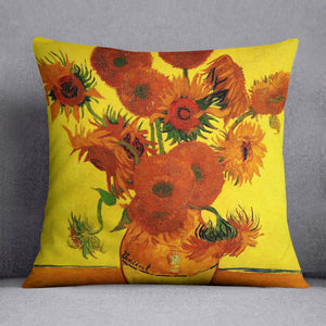 Still Life Vase with Fifteen Sunflowers 3 by Van Gogh Throw Pillow