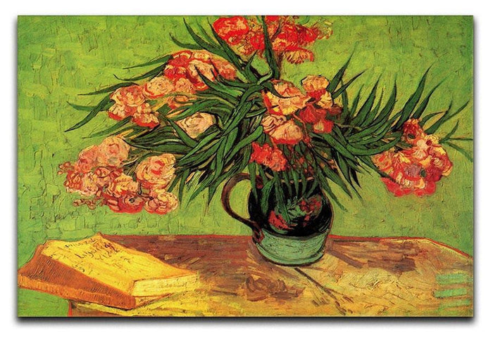 Still Life Vase with Oleanders and Books by Van Gogh Canvas Print or Poster